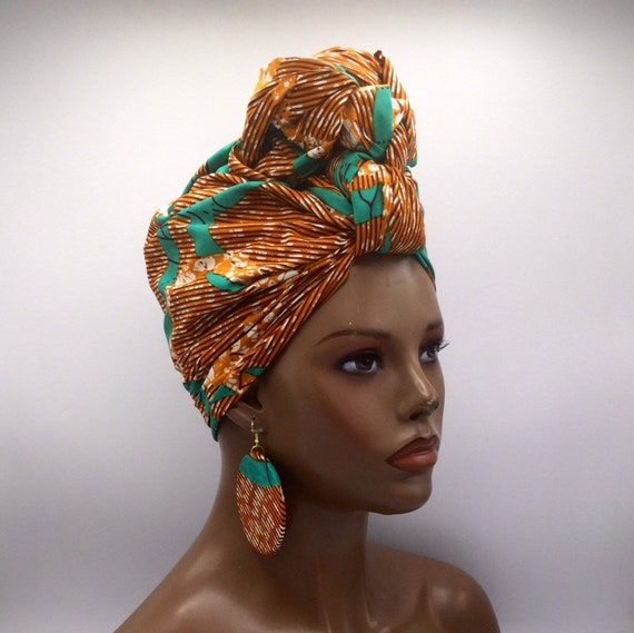 African Head Wrap - Teal & Brown Head Wrap - African Turban - African Wrap - Multicolor  - Fashion Turban - Hijab