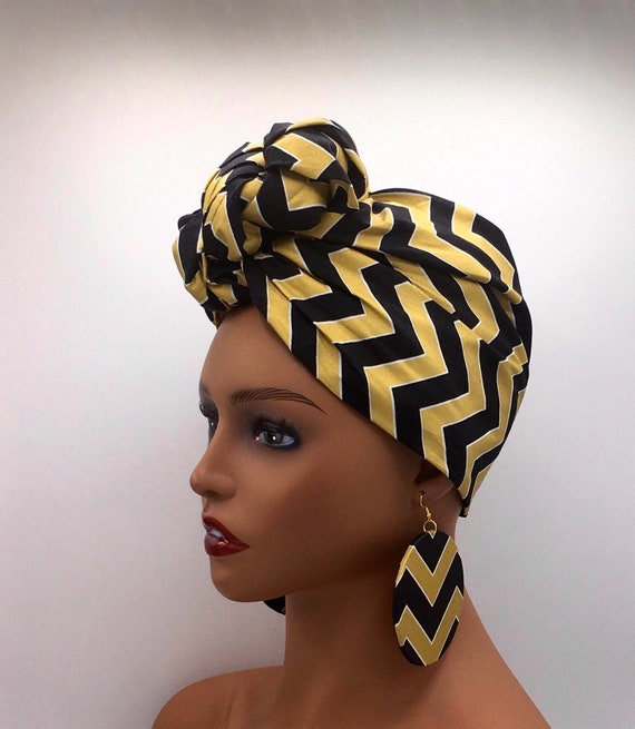 Black & Gold Head Wrap - African Scarf - African Head Wrap - Head Scarf - Head Wrap - Fashion Turban - Hijab - Chemo - Cancer