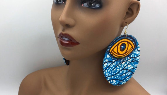 Huge Earrings - African Earrings - Ankara Earrings - Wax Earrings - Ankara  Earrings - Big Earrings - Large Earrings - Fabric Earrings