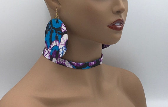 African jewelry - Fabric Print Earrings - Big Earrings - Fabric Jewelry - Ankara  - Big African Earrings - Large Earrings