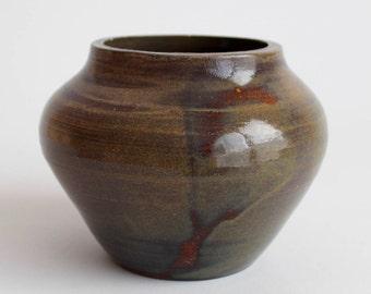 vintage green-brown small rotund vase