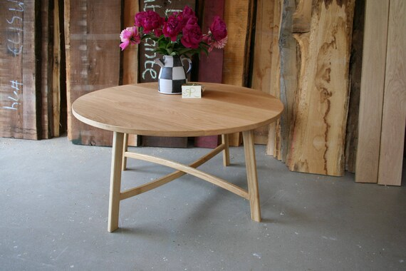 Fabulous Round Coffee Table Made Of White Oak In Matt Look Lamtechconsult Wood Chair Design Ideas Lamtechconsultcom