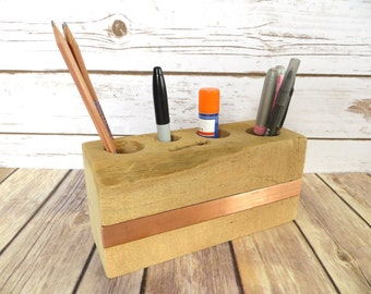 Reclaimed Wood Desk Caddy With Copper Stripe - Desk Organizer - Office Desk Accessories - Pencil Holder - Reclaimed Wood