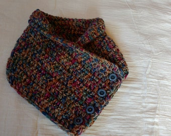 Hand Crocheted Earth Tone Buttoned Neck Warmer Cowl
