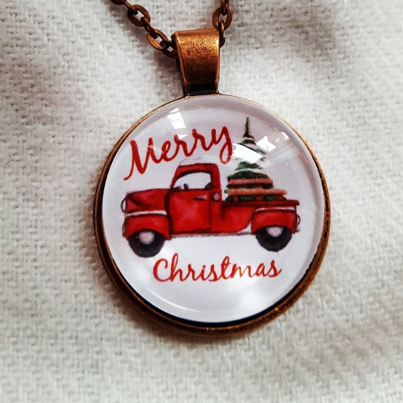 Red Truck Christmas Tree Necklace/Truck with Christmas image 0