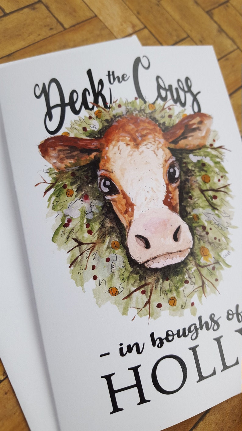 Country Cow Christmas Card/Funny Cards/5 pack/Holiday image 0