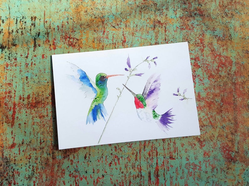 Hummingbird Card/Hummingbird Art/Hummingbird Blank Note Card image 0