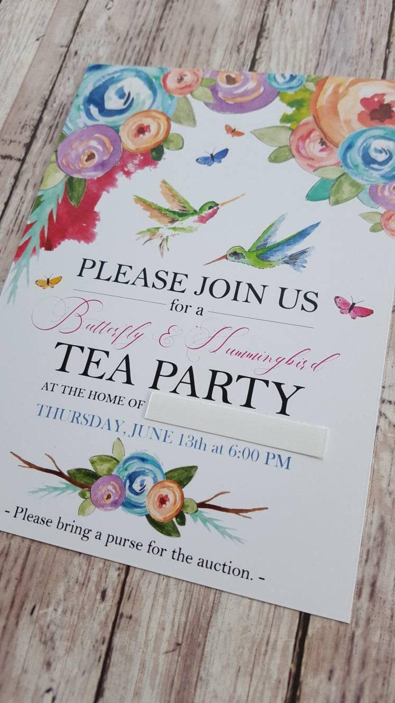 Tea Party Invitation/Custom Invitations/Hummingbird image 0
