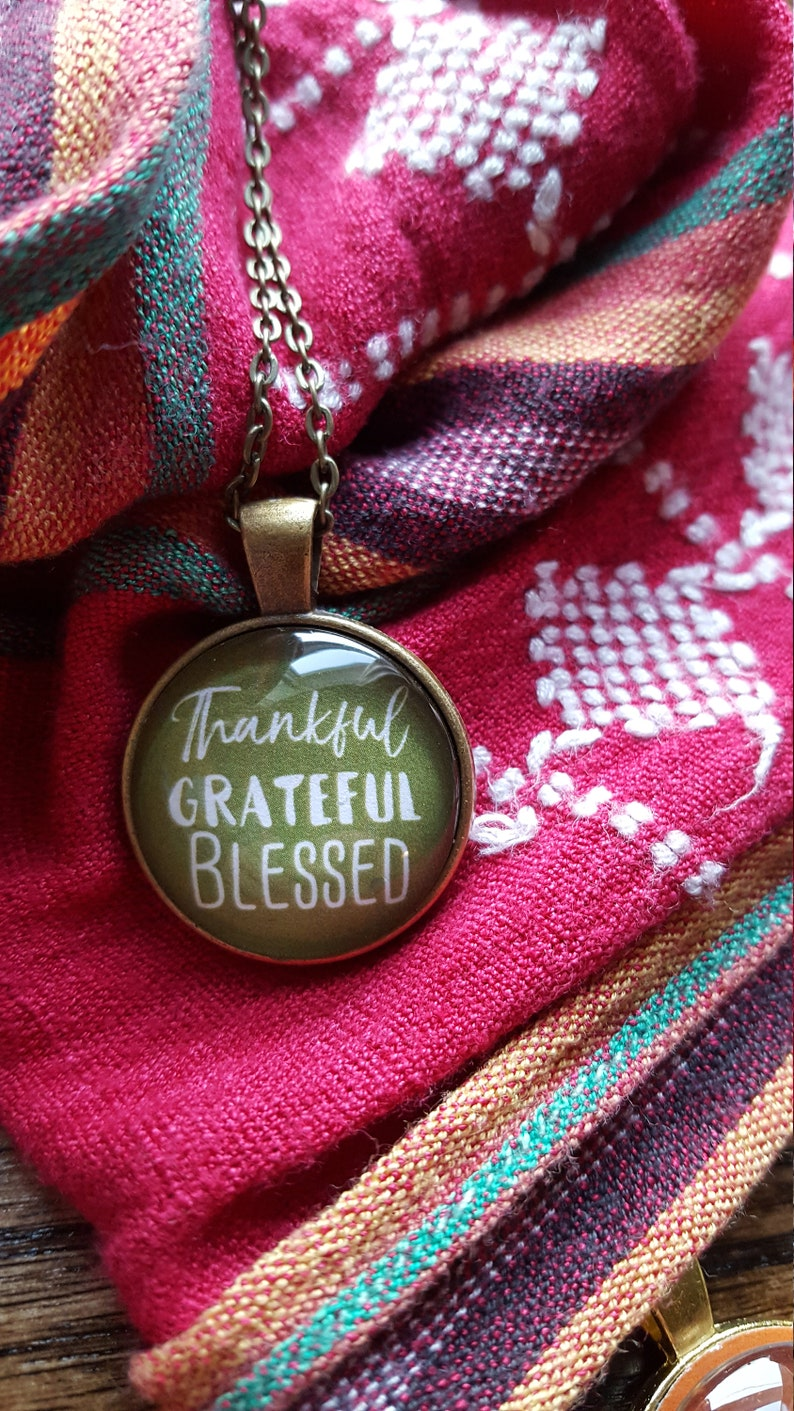 Thankful Grateful Blessed Necklace/Thanksgiving image 0