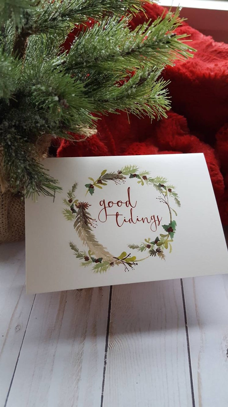 Country Christmas Watercolor Cards/Good Tidings Christmas Card image 0
