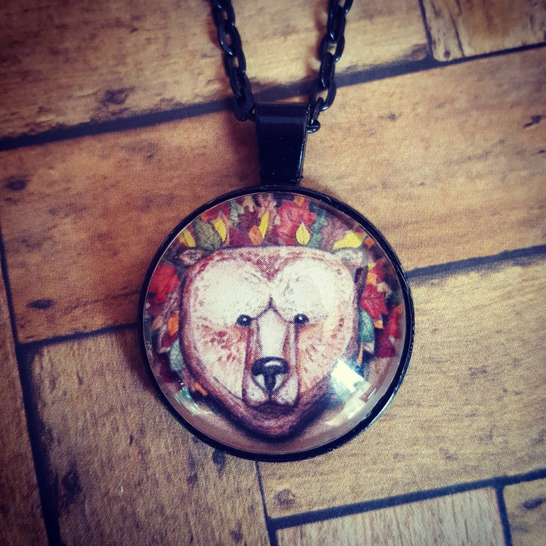 Brown Bear Autumn Necklace/Bear Pendant Necklace/Bear image 0