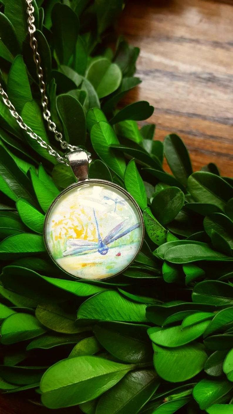 Dragonfly Jewelry/Dragonfly Art/Dragonfly Necklace/Watercolor image 0
