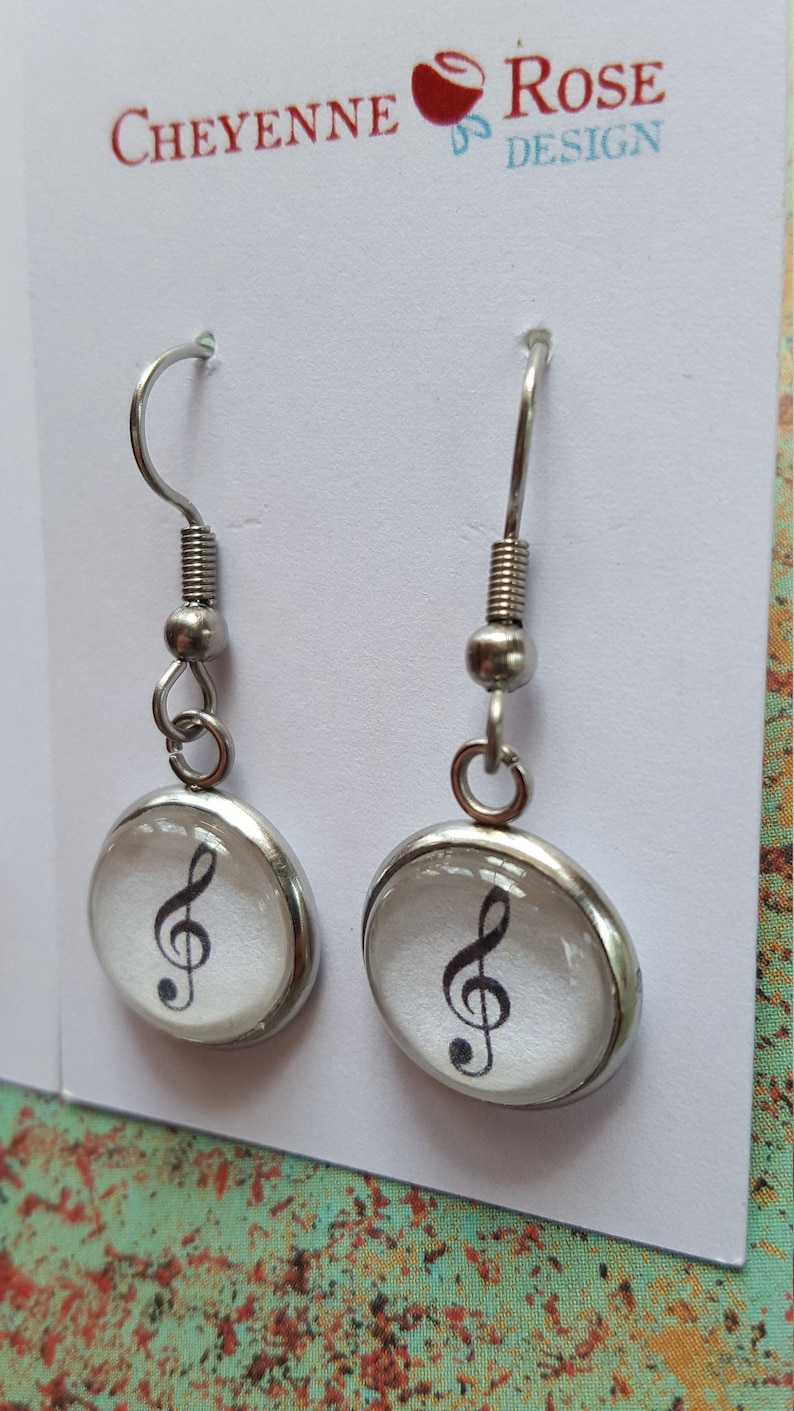 Treble Clef Bass Clef Earrings/Musician Earrings/14mm Dome image 0
