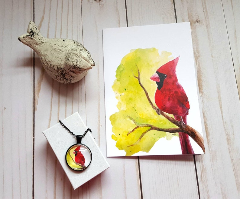 Cardinal Jewelry/Cardinal Card/Gift Set/Bird Necklace/Cardinal image 0