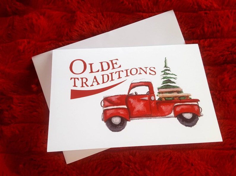 Country Christmas Card/Red Truck Christmas Card/5 Pack/Antique image 0