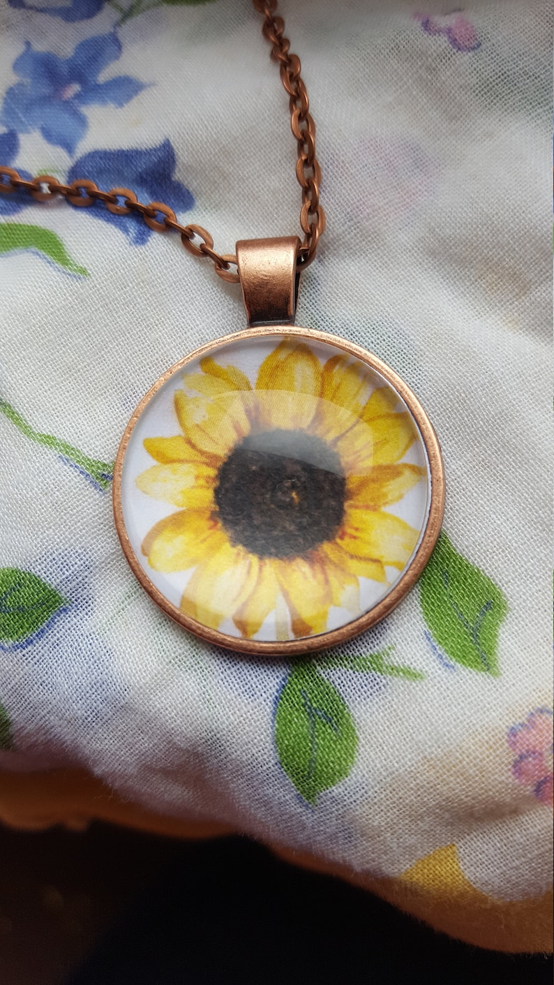 Country Sunflower Necklace Jewelry/Yellow Sunflower/Fall image 0