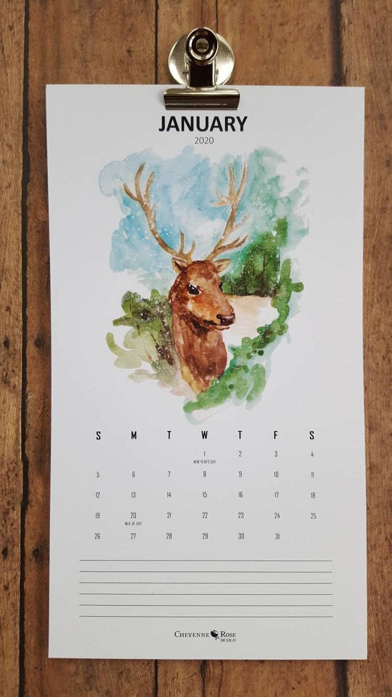 Watercolor 2020 Wildlife Calendar/Animal Calendar/Wildlife Art image 0