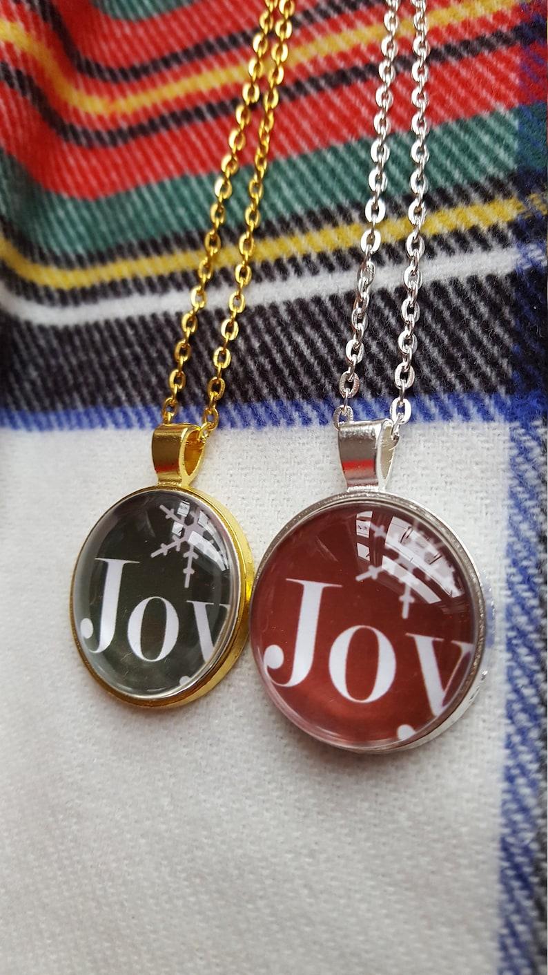 Joy Necklace/Christmas Necklace/Red Joy/Green Joy/Snowflake image 0