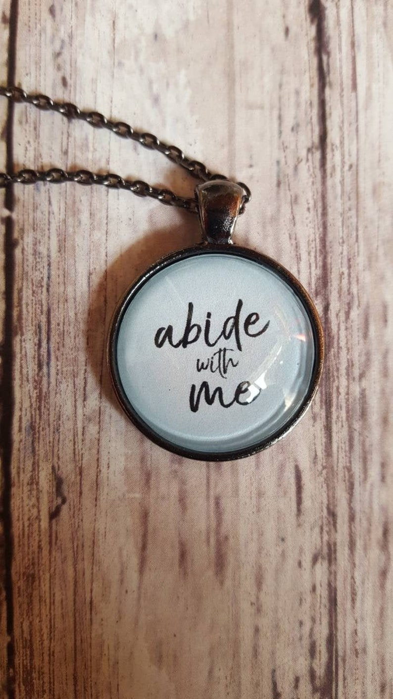 Abide With Me Necklace/Hymn Necklace/Christian Jewelry/Blue image 0