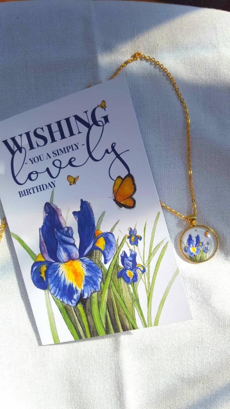 Iris Necklace/Iris Gift/Purple Flower Jewelry/Iris Birthday image 0