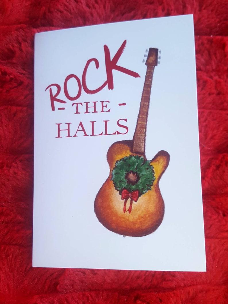 Rock the Halls Christmas Card/5 Pack/Guitar Christmas image 0