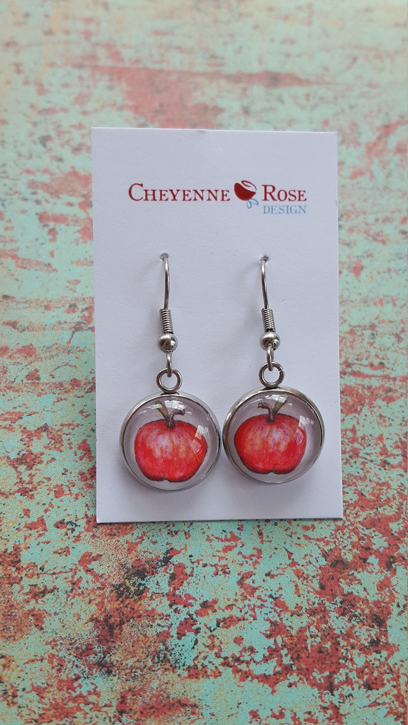 Apple Earrings/14mm Dome Earrings/Hook Wire/Teacher image 0