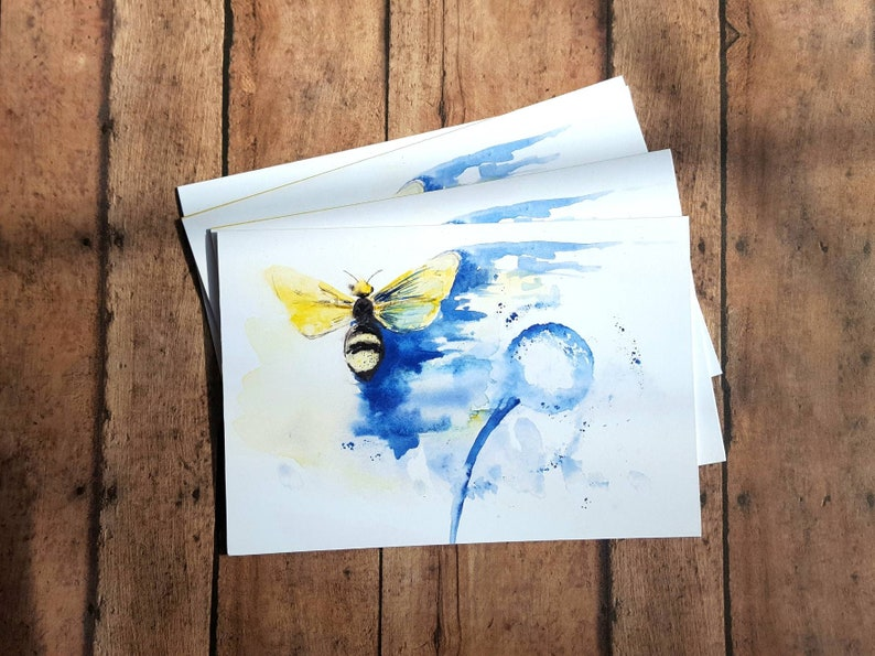 Bee Card/Blank Card Set/5 Pack/Abstract Bee/Watercolor Bee/Bee image 0
