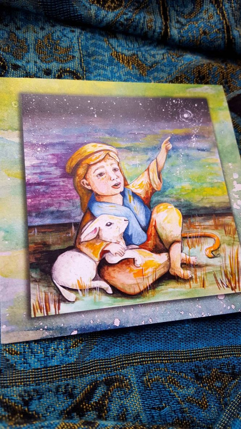 Christian Watercolor Christmas Card/Shepherd image 0