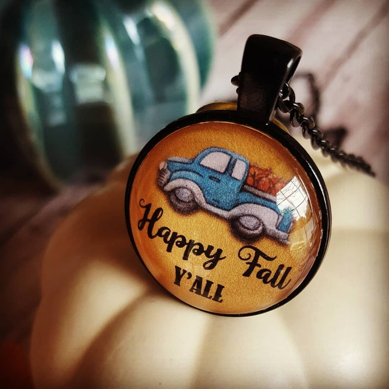 Happy Fall Y'all Blue Pickup Truck Necklace/Truck with image 0
