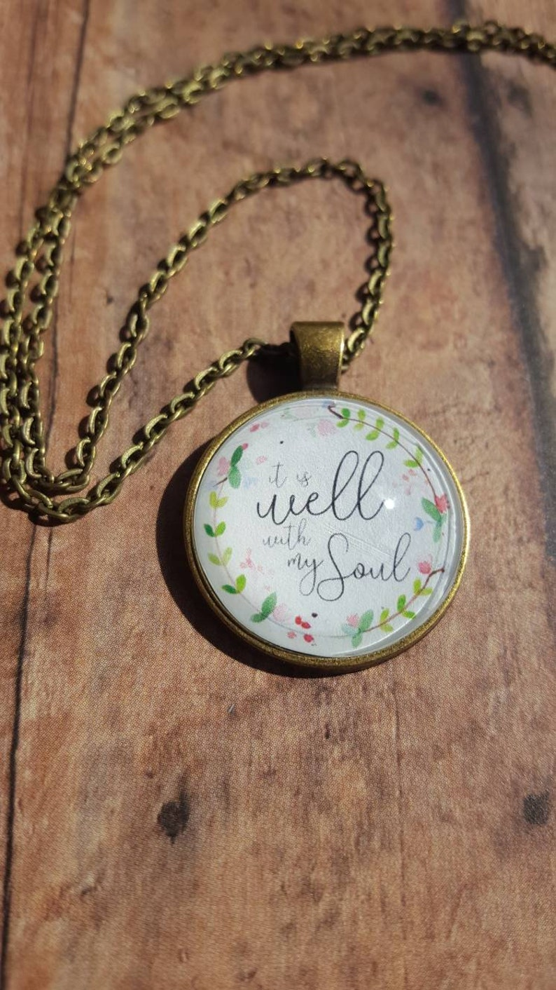 It Is Well Necklace/Christian Jewelry/Hymn Necklace/Pendant image 0