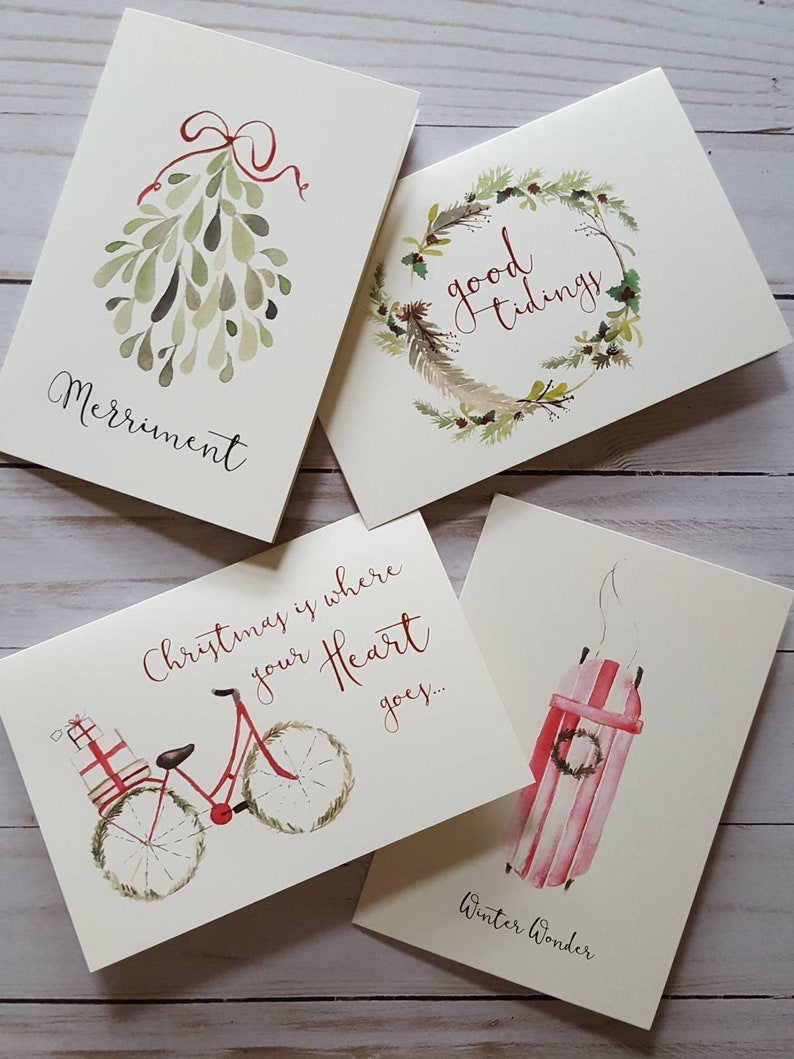 Country Christmas Card Set/Watercolor Christmas Card image 0