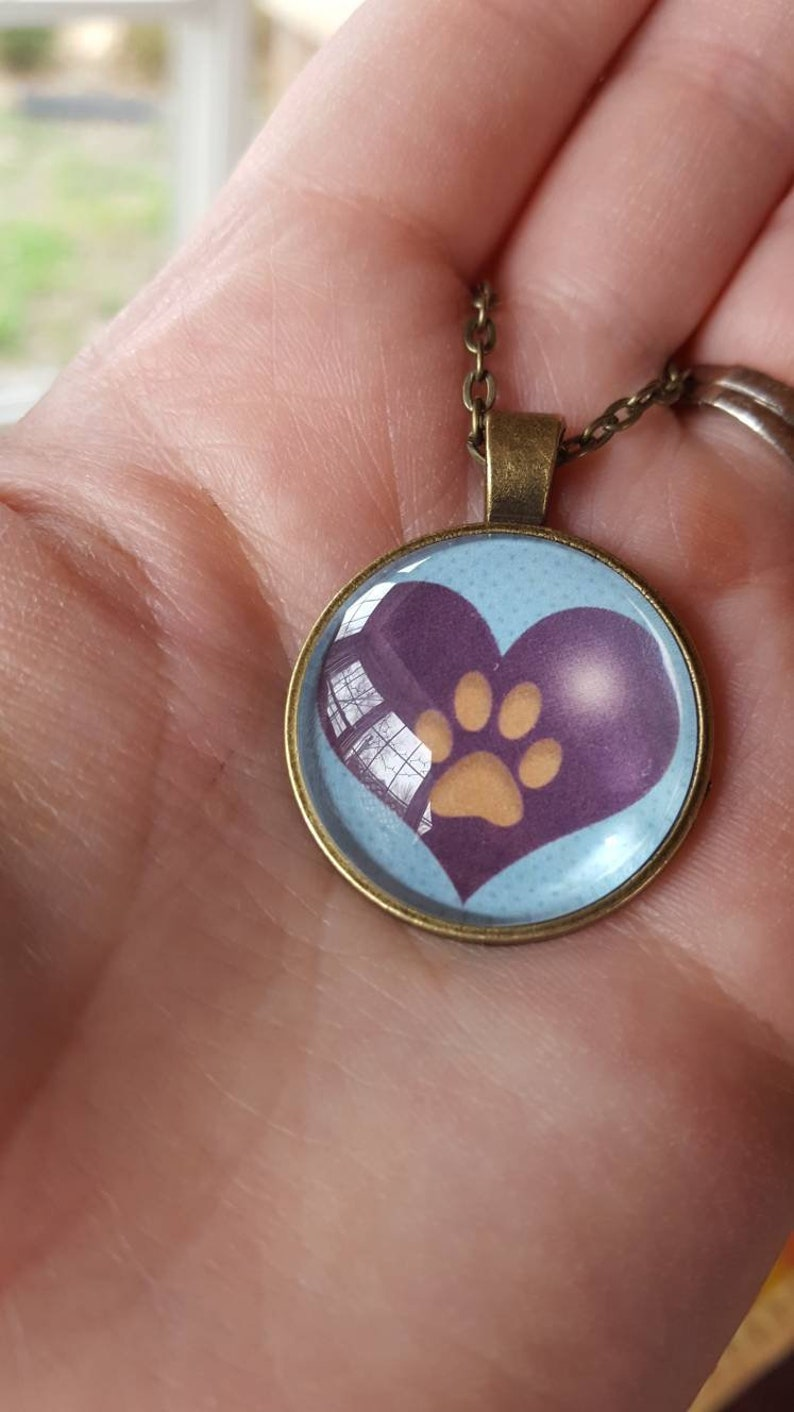 Dog Paw Necklace/Dog Owner/Purple/Blue/Doggie Love/Heart and image 0
