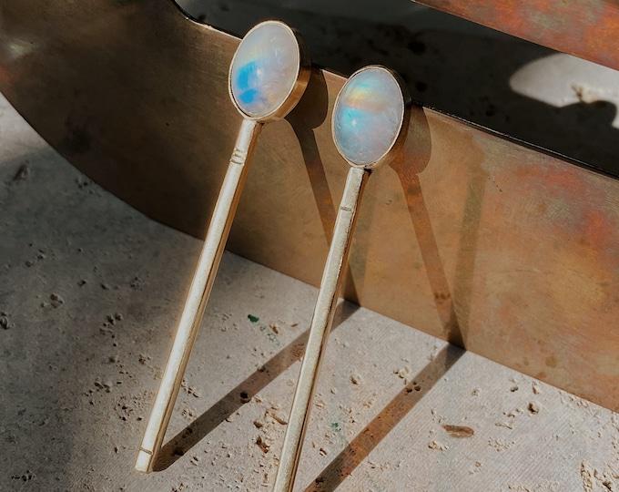 Minimalist Moonstone OVAL Drop Earring