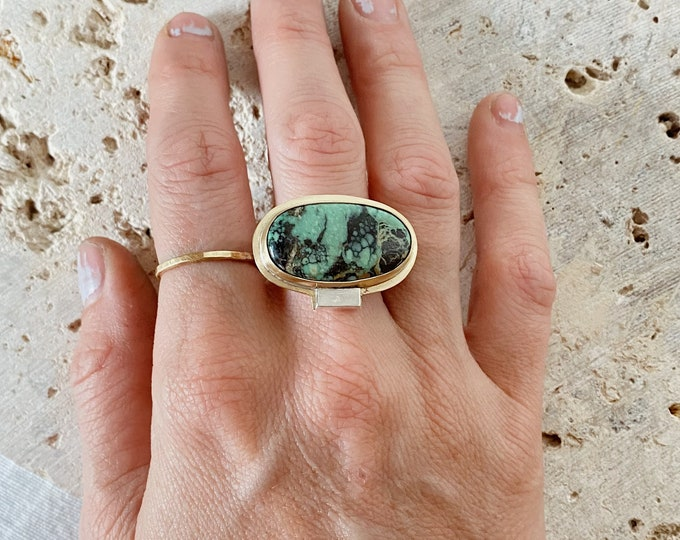 Variscite Ring | Size 7 | Brass & Sterling Silver Ring