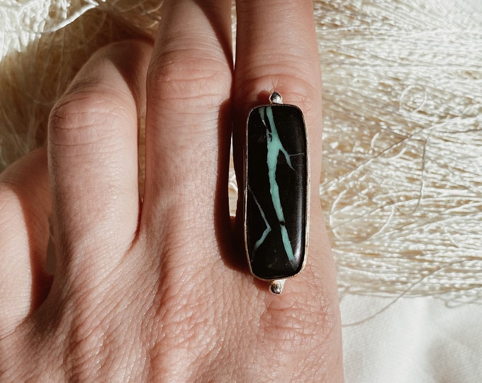 CHOOSE YOUR SIZE | Black Buffalo Turquoise Ring