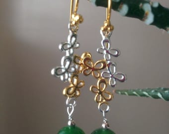 Siberian nephrite with gold vermeil earrings