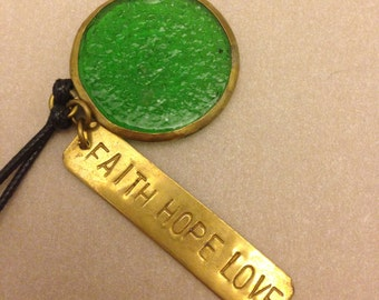 "Vintage ""Faith Hope Love"" Necklace"