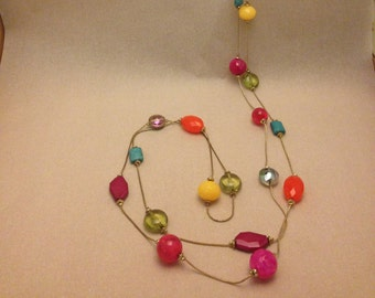 Vintage Colorful Bead Long Necklace