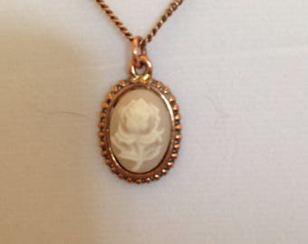 Vintage Copper Flower Cameo Necklace
