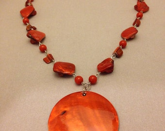 Bold Vintage Orange Shell Necklace
