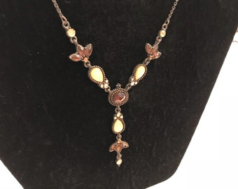 """Vintage """"Amber and Ruby"""" 1928 Y Necklace"""