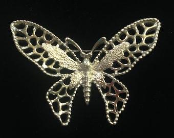 Vintage Silvery Butterfly Brooch