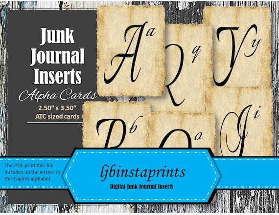 Junk Journal Elements Alpha Card ATC Printable ATC Cards Instant Download