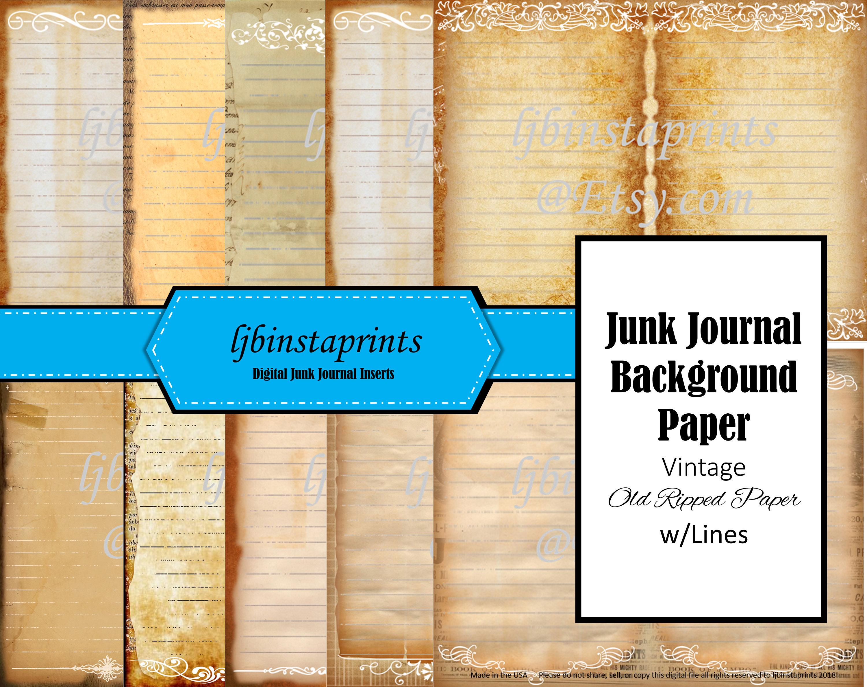 Junk Journal Background Paper, Junk Journal Old Journal Pages, Junk Journal  Supply  Instant Download