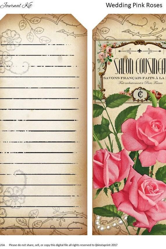 Instant Download Pink Roses Junk Journal Kit Wedding Junk Journal Kit Pink Roses Wedding Junk Journal Kit