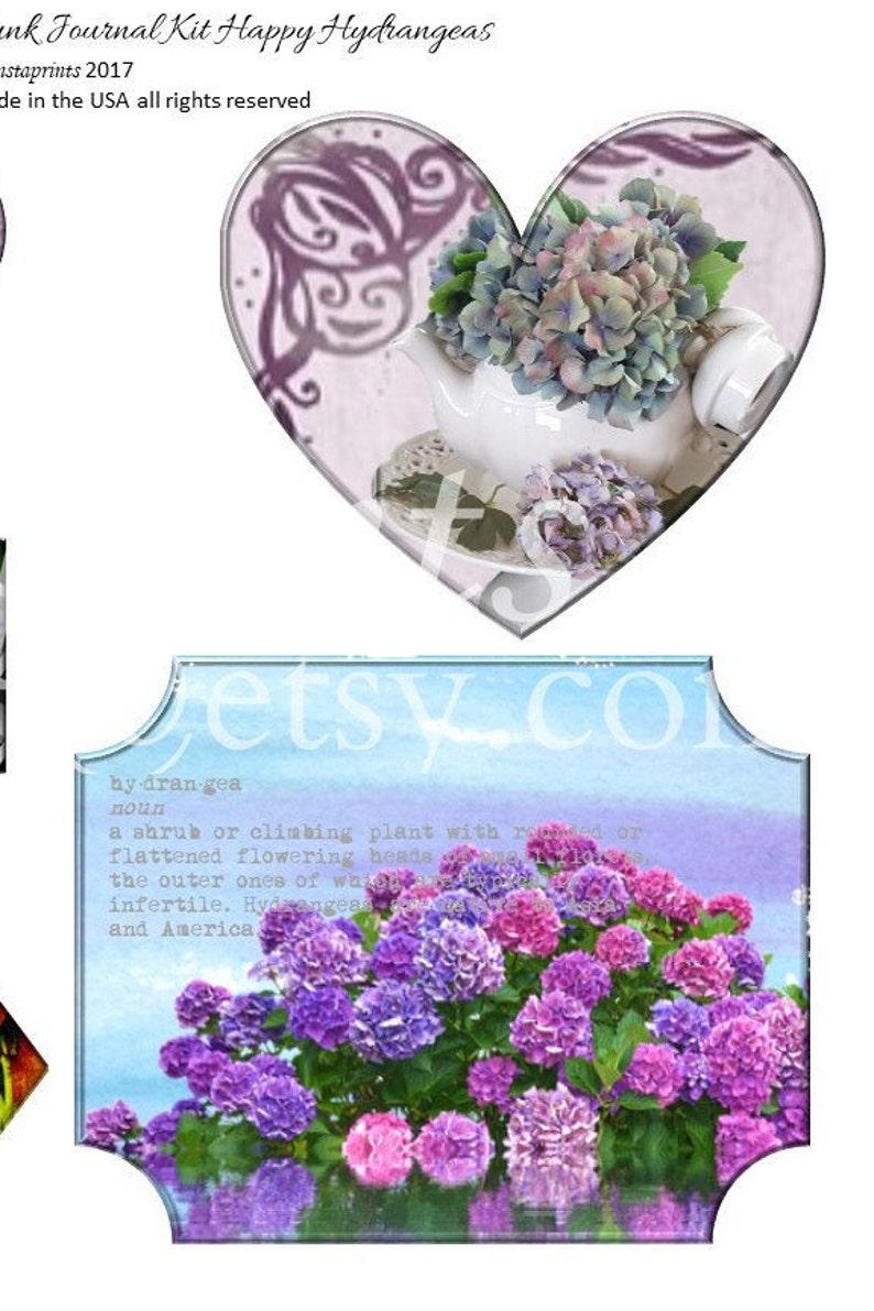 Purple Hydrangea Junk Journal Kit Happy Hydrangeas Junk Journal Kit Floral Junk Journal Kit Instant Download