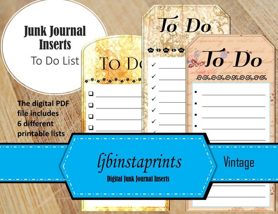 items similar to printable junk journal ephemera vintage to do list instant download on etsy
