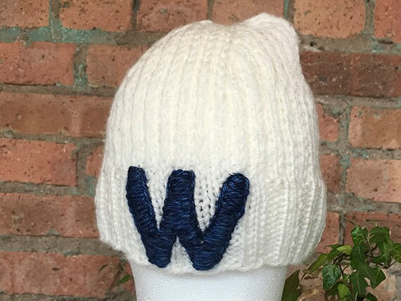 Hand Knit Chicago Cubs W hat handmade fly the w  f0a17ae857a
