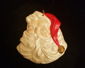 Vintage Santa Claus Head Christmas Ornament - Hand Painted