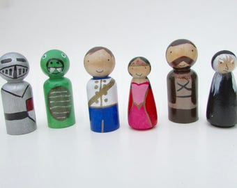 Fairy tale peg dolls, princess, prince, dragon, witch, knight, wooden, hand painted, play castle set, wooden toys, cake topper